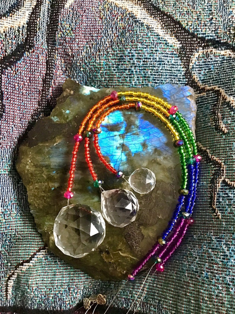 Rainbow Prism Suncatcher ~Sparkly Crystal Suncatcher ~Magical ~Healing Energy ~Faceted Glass Beads ~Czech Seed Beads ~Rainbows For Days