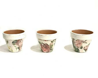 SET OF 3 Floral Terra Cotta Pots - French Country Terra Cotta Pots - Plant Pots - Herb Pots - Flower Pots - Small Flower Pots - Floral Decor