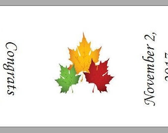 60 Personalized Autumn Leaves Favor Hershey Nugget Labels Wrappers