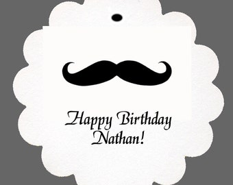 24 Personalized Mustache Favor Scalloped Tags Party Favors