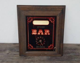 Vintage Bar Sign - Clock : Man Cave - Pub - Tavern