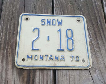 1970 Montana Snowmobile License Plate - Man Cave Garage Decor