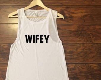 9f856315c442b Black and White Wifey Muscle Tank