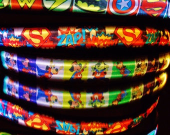 Superdogs super hero dog collar or leash w/ LED light glows in dark; Light up your superhero