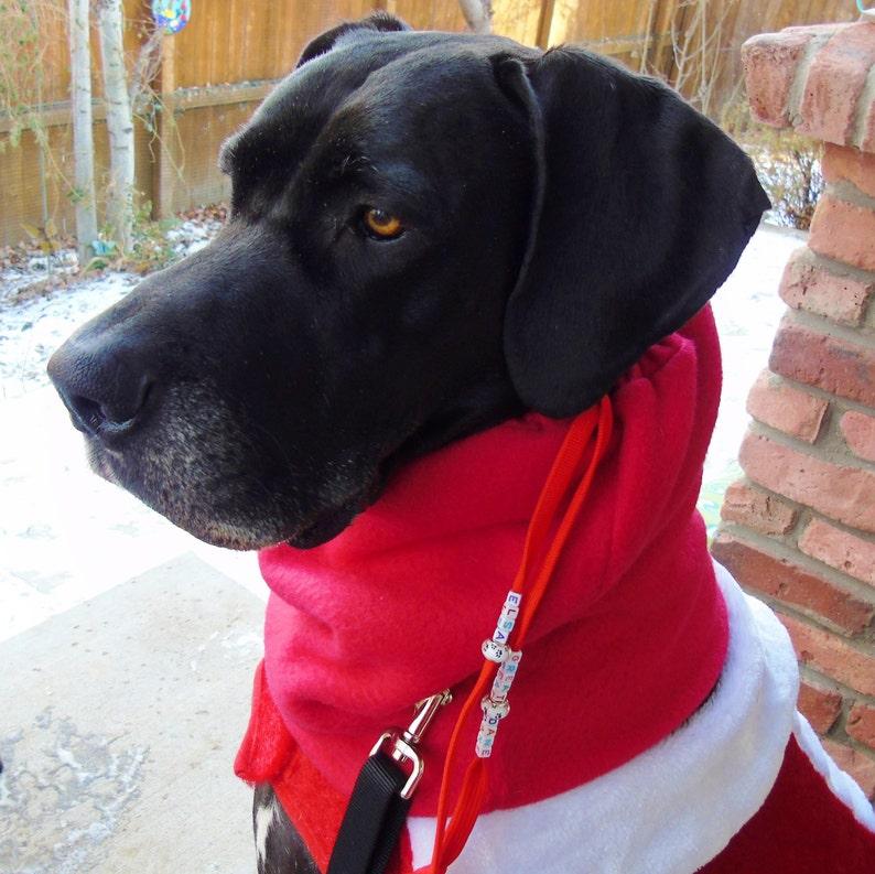 Large dog snood fleece neck /& ear warmer; big red Colorado gaiter neckwarmer