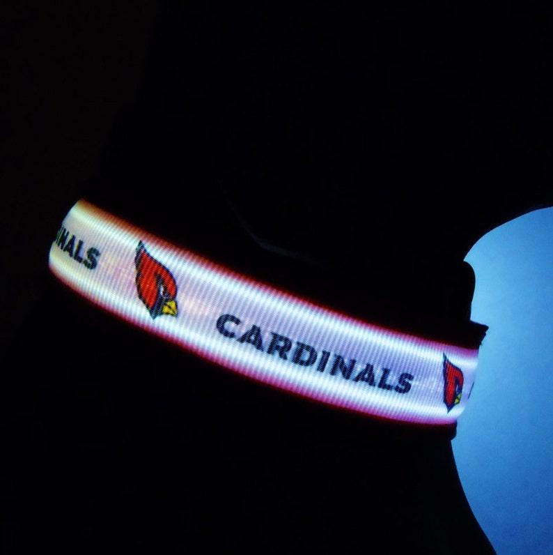 new concept 8af54 eacf6 AZ Cardinals, Arizona flag, ASU or cactus dog collar or leash glows &  lights up in dark w/ LED light