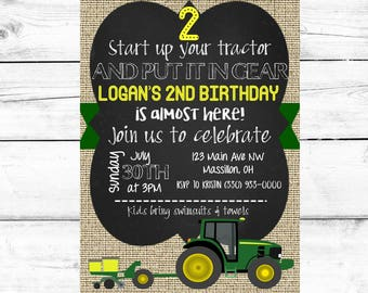 Boy Birthday Party Invitation Tractor John Deere Printable