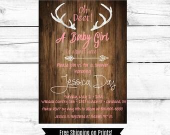 Rustic Baby Girl Shower Invitation, Baby Shower Invitation Girl, Deer, Pink and White, Antler, Printable Invitation, Downloadable