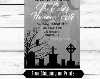 Halloween Party Invitations, Black and White Invitations, Witch Invitations, Halloween Invitations, Customizable Invitations, Printable