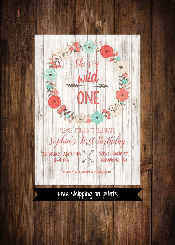 Wild One Birthday Invitation Girl First Floral
