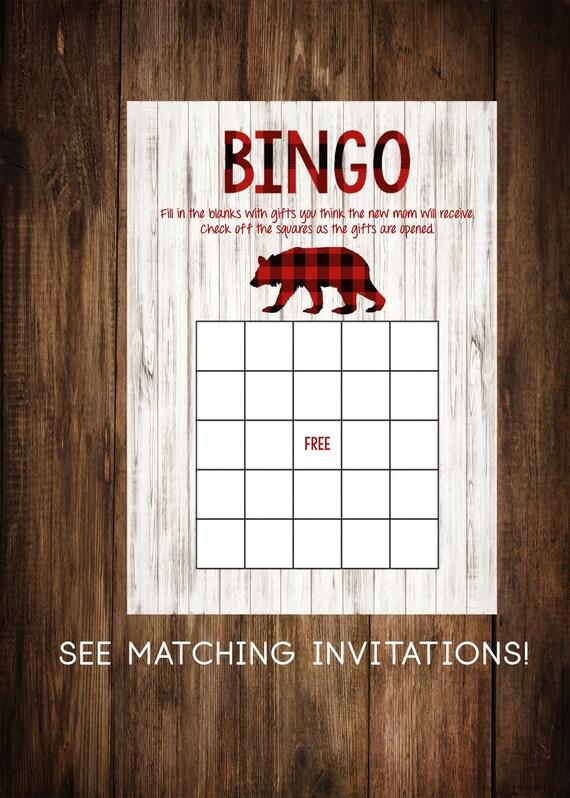 BINGO Card Navy Blue Printable Bear Rustic BINGO Card,Baby Shower Games Birch Wood Downloadable