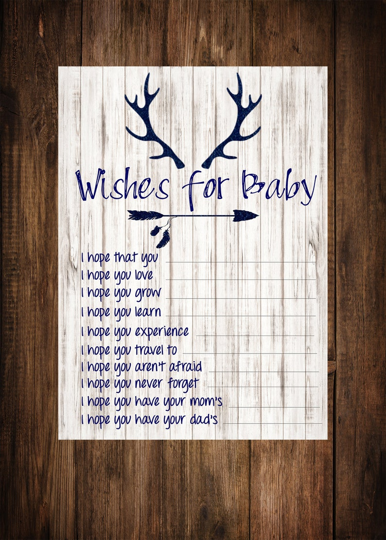 picture relating to 5 Wishes Printable Version identified as Would like for Kid, Boy or girl Shower Online games, Antler, Military Blue, Printable, Downloadable