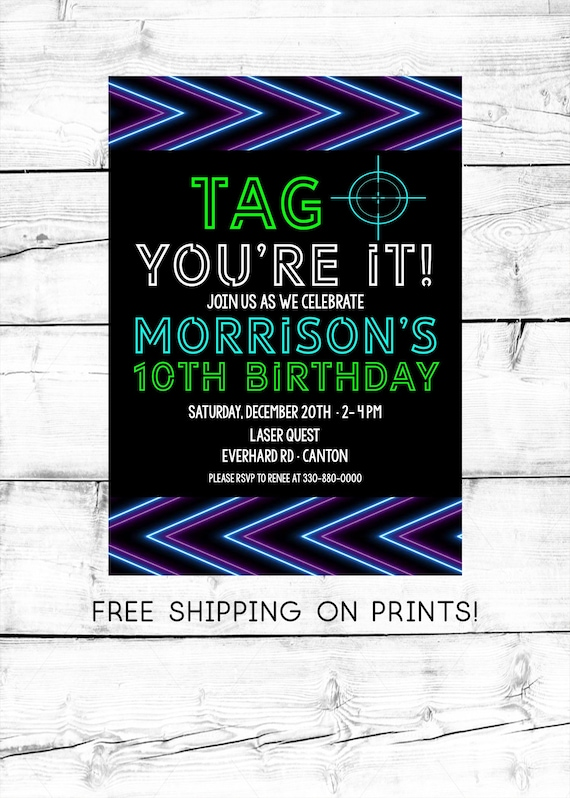 Laser Tag Birthday Invitation Girl Boy