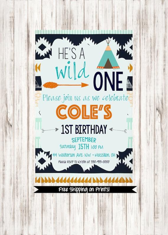 Wild One Birthday Invitation Boy First Aztec