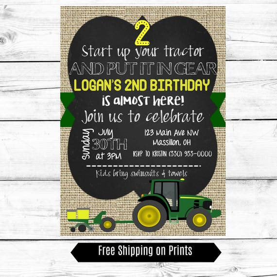 Boy Birthday Party Invitation Tractor