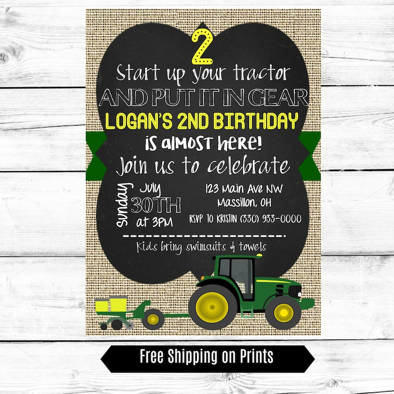 Boy Birthday Party Invitation Tractor