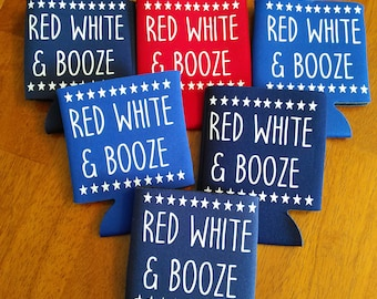 Red White and Booze can cooler