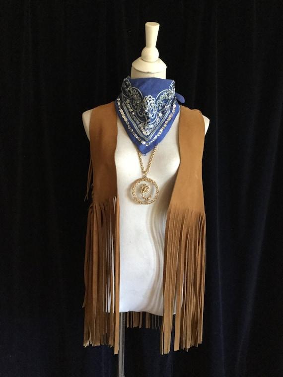 Vintage 1960s Brown Suede Fringe Vest Long Fringe