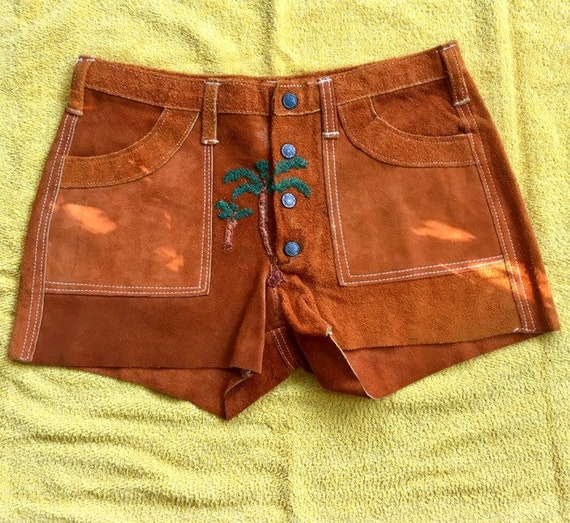 Vintage Suede Shorts Hippie Festival Shorts Brown