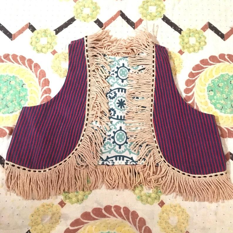 Reversible Handmade Childs Vest all Vintage Fabrics and Fringe size 2-4