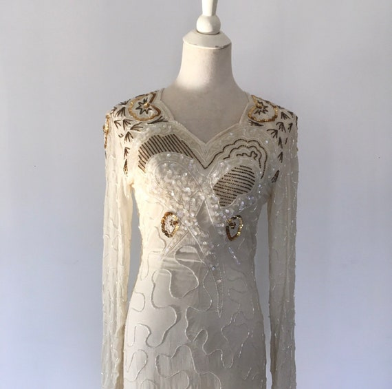 Vintage wedding dress Beaded Silk Indian Dress Whi