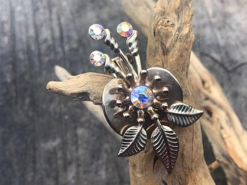 Aurora Borealis and Gold Tone Clip Earrings AB Clip Earrings