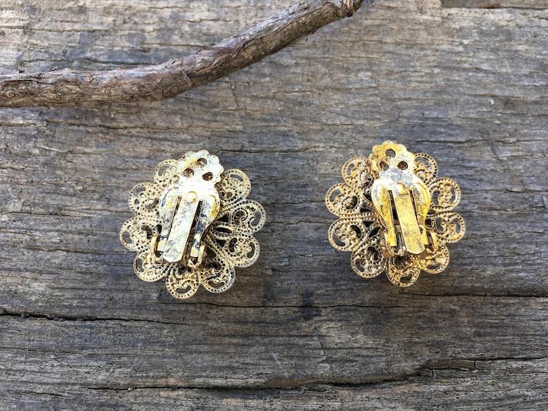 Orange Rhinestone Flower Shape Clip Ons Filigree Floral Clip Earrings Vintage Gold Tone 1960s Victorian Style Earrings