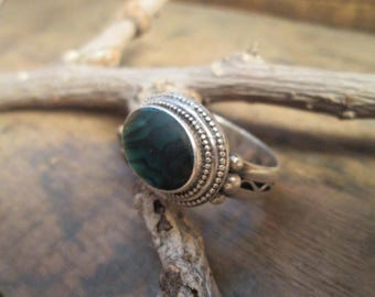 Vintage Sterling Silver Semi Precious Stone Ring