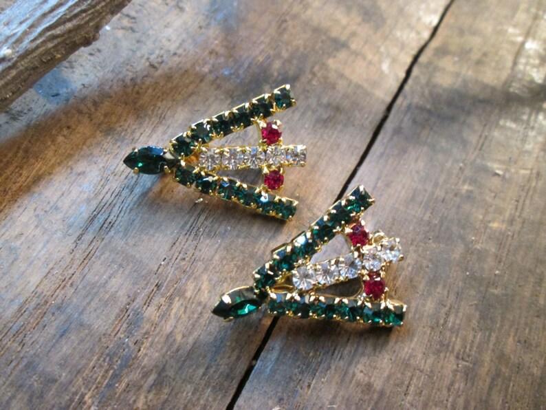 Vintage Petite Set of Christmas Rhinestone Tree Brooches