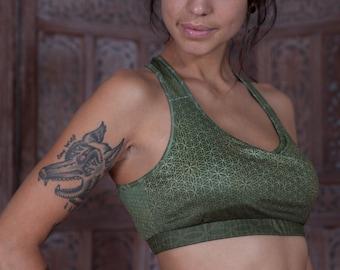Olive Green Flower of life Print Weave Back Sports Bra Top Active wear, Sports Bra, Yoga top, Yoga Bra, Gym wear, dance wear, Workout Bra,