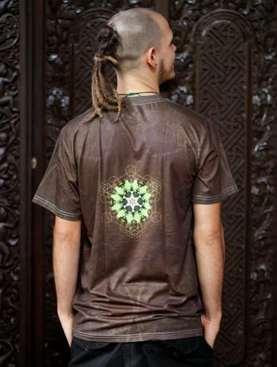 Mycélium fougère / / T-shirt en coton coton en pour hommes / / Mandala chemise / / chemise de géométrie sacrée / Crystalotus Shirt / chemise, tee-shirt psychédélique, chemise festival f8f4d8