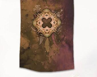 ORCHID PORTAL Tapestry, Fabric Tapestry,  Mandala tapestry, Wall hanging, Mandala wall hanging, Sacred geometry, Visionary art