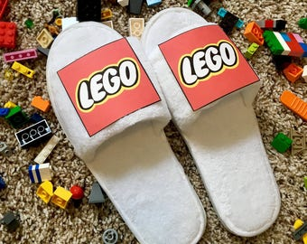 Brick Kicks, Lego slippers novelty adult toy gift present idea coworker parent funny weird prank joke white elephant humorous kids office