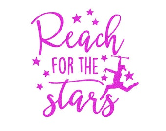 Reach for the Stars Baton Iron On Decal