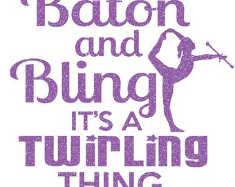 Baton And Bling Iron On Decal