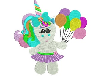 Cute Rainbow Unicorn Filled Machine Embroidery Digitized Design Pattern - 4x4 , 5x7, and 6x10 -hoops