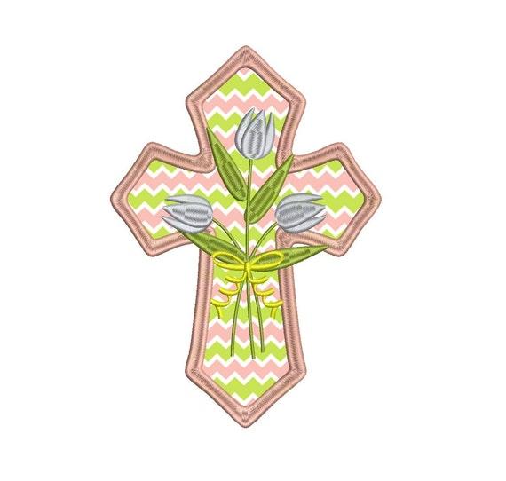 Cruz religiosa con flores apliques máquina bordado   Etsy