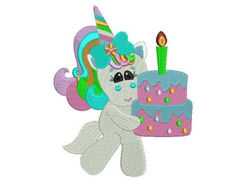 Cute Rainbow Unicorn With a Birthday Cake Filled Machine Embroidery Digitized Design Pattern - 4x4 , 5x7, and 6x10 -hoops