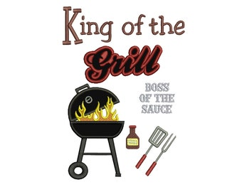 King of the Grill BBQ Applique Machine Embroidery Digitized Pattern - Instant Download - 4x4, 5x7, 6x10