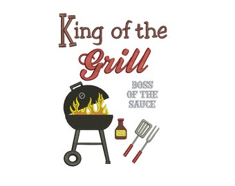 King of the Grill BBQ Filled Machine Embroidery Digitized Pattern - Instant Download - 4x4, 5x7, 6x10