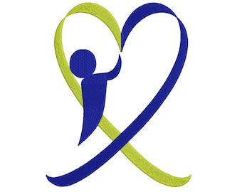 Down Syndrome Awareness Boy Heart Filled Machine Embroidery Digitized Design Pattern - Instant Download- 4x4 , 5x7, 6x10