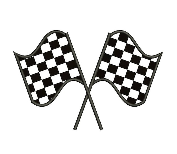 Checkered Flag Rug: Racing Checkered Flag Applique Machine Embroidery