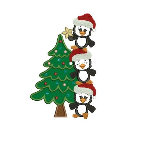 Pingüinos con el árbol de Navidad apliques máquina de bordado | Etsy