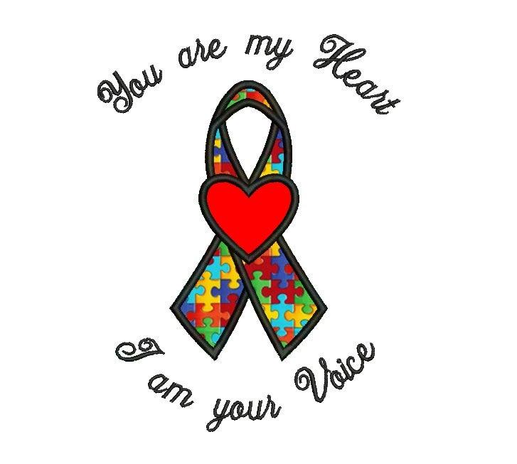 Eres mi corazón autismo conciencia cinta apliques máquina | Etsy