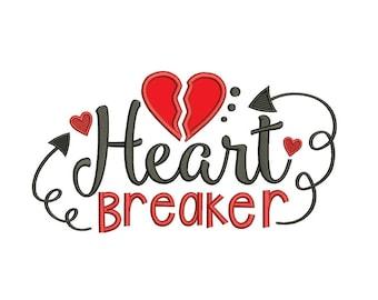 Heart Breaker Machine Embroidery Applique Design Digitized Pattern - Instant Download
