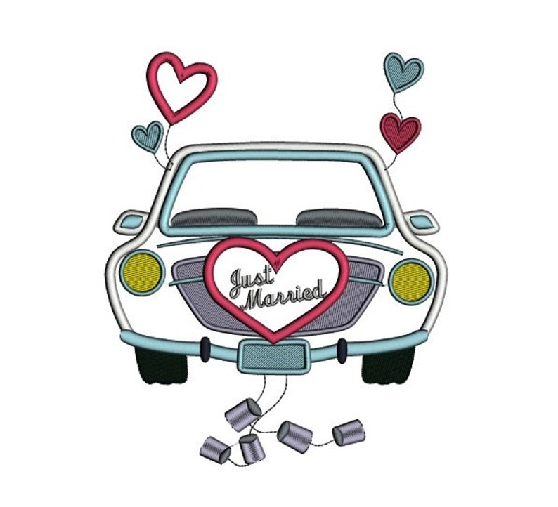 just married car applique machine embroidery digitized