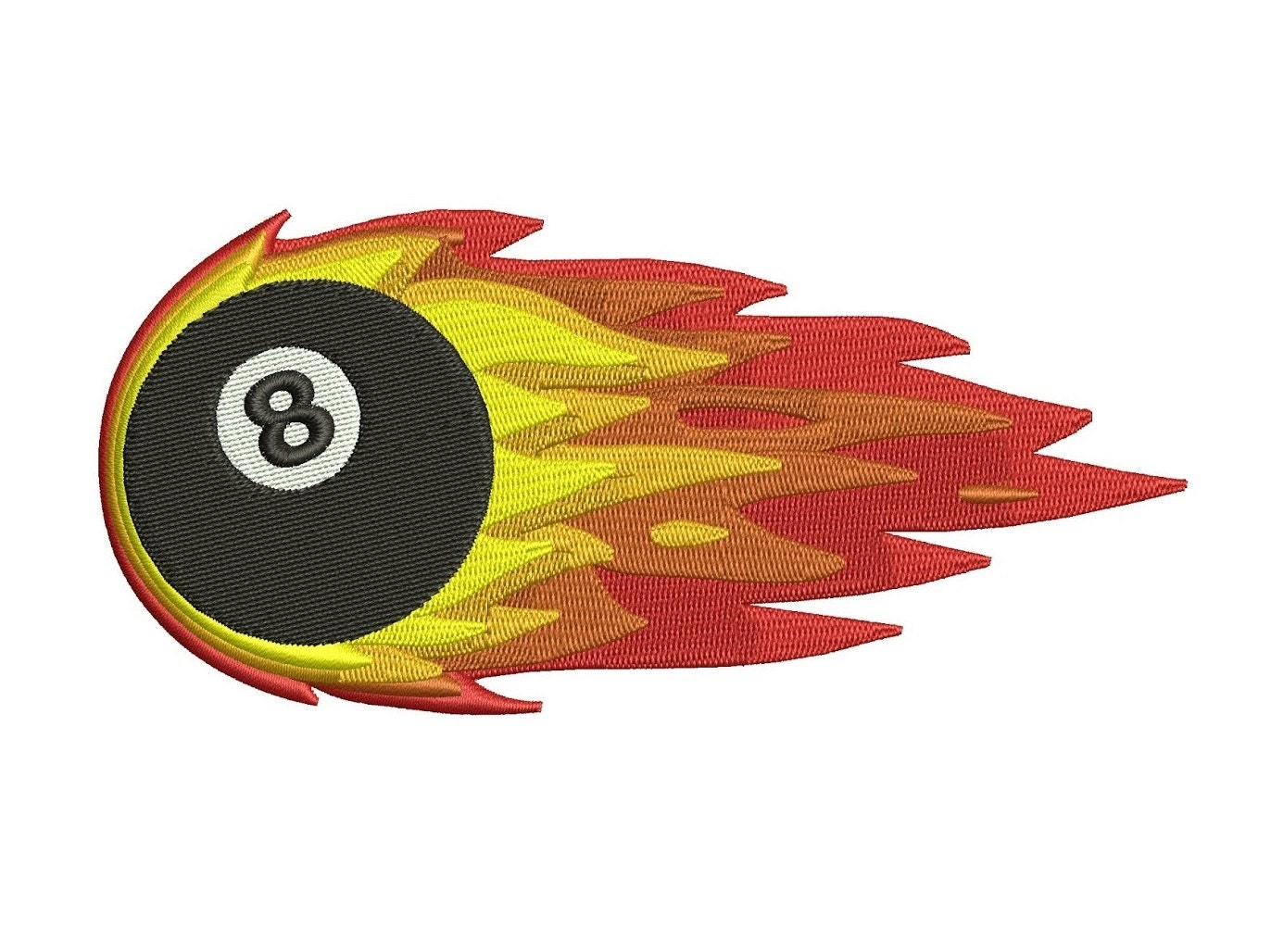 Billiard (Pool) 8 (Eight) Ball with Flames Machine Embroidery Digitized Design Filled Pattern - Instant Download - 4x4 , 5x7, 6x10 hoops for sale