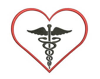 Caduceus inside Heart Medical Machine Embroidery Digitized Applique - Instant Download Pattern - 4x4 , 5x7, and 6x10 hoops, Nurses, Doctors
