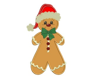 Ginger Bread Man Christmas Applique Machine Embroidery Digitized Design Pattern - instant download - 4x4 , 5x7, and 6x10 -hoops