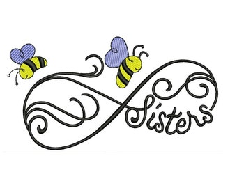 Sisters Forever Bee Machine Embroidery Design Filled Digitized Pattern - Instant Download Machine Design 4x4 , 5x7, 6x10